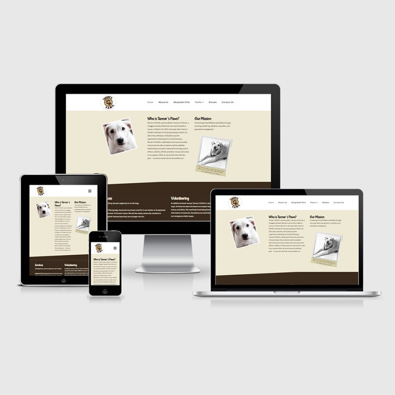 Tanners Paws Responsive Website